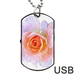 Pink Rose Flower, Floral Oil Painting Art Dog Tag Usb Flash (one Side) by picsaspassion