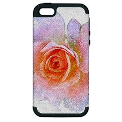 Pink Rose Flower, Floral Oil Painting Art Apple Iphone 5 Hardshell Case (pc+silicone) by picsaspassion