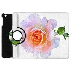 Pink Rose Flower, Floral Oil Painting Art Apple Ipad Mini Flip 360 Case by picsaspassion