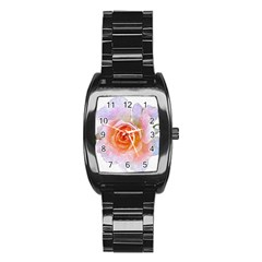 Pink Rose Flower, Floral Oil Painting Art Stainless Steel Barrel Watch by picsaspassion