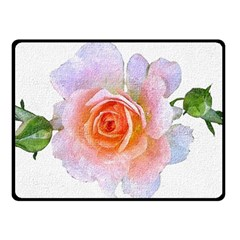 Pink Rose Flower, Floral Oil Painting Art Double Sided Fleece Blanket (small)  by picsaspassion