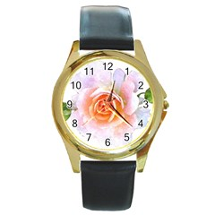 Pink Rose Flower, Floral Watercolor Aquarel Painting Art Round Gold Metal Watch by picsaspassion
