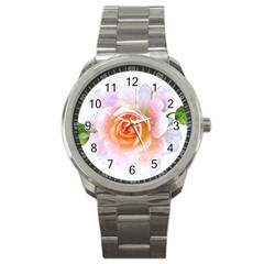 Pink Rose Flower, Floral Watercolor Aquarel Painting Art Sport Metal Watch by picsaspassion