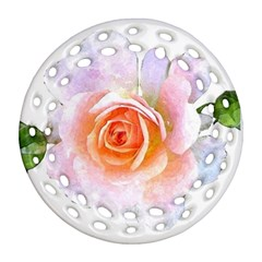 Pink Rose Flower, Floral Watercolor Aquarel Painting Art Ornament (round Filigree) by picsaspassion