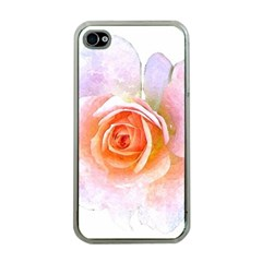 Pink Rose Flower, Floral Watercolor Aquarel Painting Art Apple Iphone 4 Case (clear) by picsaspassion