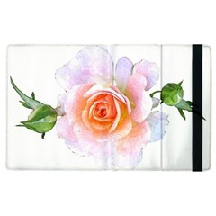 Pink Rose Flower, Floral Watercolor Aquarel Painting Art Apple Ipad 3/4 Flip Case by picsaspassion