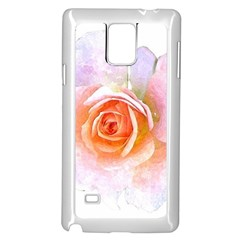Pink Rose Flower, Floral Watercolor Aquarel Painting Art Samsung Galaxy Note 4 Case (white) by picsaspassion
