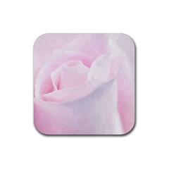 Rose Pink Flower, Floral Aquarel   Watercolor Painting Art Rubber Square Coaster (4 Pack)  by picsaspassion