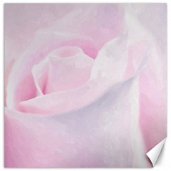 Rose Pink Flower, Floral Aquarel   Watercolor Painting Art Canvas 16  X 16   by picsaspassion