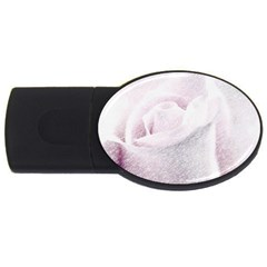 Rose Pink Flower  Floral Pencil Drawing Art Usb Flash Drive Oval (2 Gb) by picsaspassion