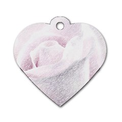 Rose Pink Flower  Floral Pencil Drawing Art Dog Tag Heart (one Side) by picsaspassion