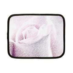 Rose Pink Flower  Floral Pencil Drawing Art Netbook Case (small)  by picsaspassion