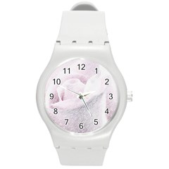 Rose Pink Flower  Floral Pencil Drawing Art Round Plastic Sport Watch (m) by picsaspassion