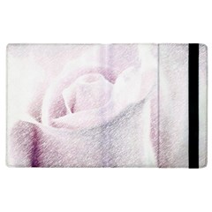 Rose Pink Flower  Floral Pencil Drawing Art Apple Ipad 2 Flip Case by picsaspassion