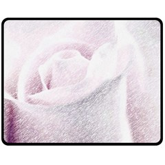 Rose Pink Flower  Floral Pencil Drawing Art Double Sided Fleece Blanket (medium)  by picsaspassion
