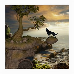 The Lonely Wolf On The Flying Rock Medium Glasses Cloth (2 Side) by FantasyWorld7