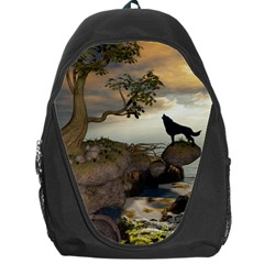 The Lonely Wolf On The Flying Rock Backpack Bag by FantasyWorld7