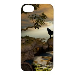 The Lonely Wolf On The Flying Rock Apple Iphone 5s/ Se Hardshell Case by FantasyWorld7