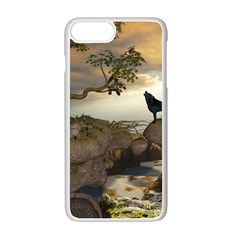 The Lonely Wolf On The Flying Rock Apple Iphone 7 Plus Seamless Case (white) by FantasyWorld7