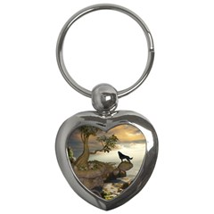 The Lonely Wolf On The Flying Rock Key Chains (heart)  by FantasyWorld7