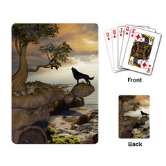 The Lonely Wolf On The Flying Rock Playing Card by FantasyWorld7