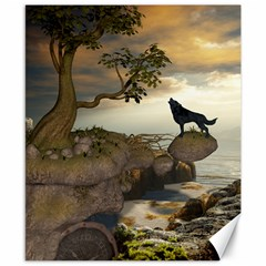 The Lonely Wolf On The Flying Rock Canvas 8  X 10  by FantasyWorld7