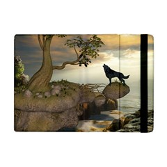 The Lonely Wolf On The Flying Rock Apple Ipad Mini Flip Case by FantasyWorld7