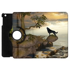The Lonely Wolf On The Flying Rock Apple Ipad Mini Flip 360 Case by FantasyWorld7