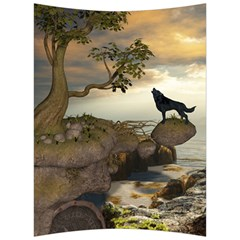 The Lonely Wolf On The Flying Rock Back Support Cushion by FantasyWorld7