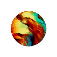 Abstract Acryl Art Rubber Round Coaster (4 Pack)  by tarastyle