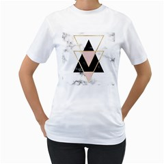 Triangles,gold,black,pink,marbles,collage,modern,trendy,cute,decorative, Women s T Shirt (white) (two Sided) by 8fugoso