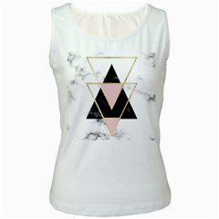 Triangles,gold,black,pink,marbles,collage,modern,trendy,cute,decorative, Women s White Tank Top by 8fugoso