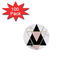 Triangles,gold,black,pink,marbles,collage,modern,trendy,cute,decorative, 1  Mini Buttons (100 Pack)  by 8fugoso