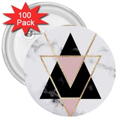 Triangles,gold,black,pink,marbles,collage,modern,trendy,cute,decorative, 3  Buttons (100 Pack)  by 8fugoso