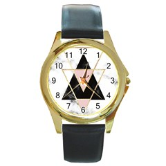 Triangles,gold,black,pink,marbles,collage,modern,trendy,cute,decorative, Round Gold Metal Watch by 8fugoso