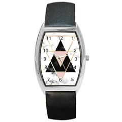 Triangles,gold,black,pink,marbles,collage,modern,trendy,cute,decorative, Barrel Style Metal Watch by 8fugoso