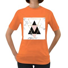 Triangles,gold,black,pink,marbles,collage,modern,trendy,cute,decorative, Women s Dark T Shirt by 8fugoso