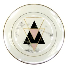 Triangles,gold,black,pink,marbles,collage,modern,trendy,cute,decorative, Porcelain Plates by 8fugoso