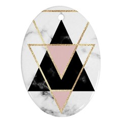 Triangles,gold,black,pink,marbles,collage,modern,trendy,cute,decorative, Oval Ornament (two Sides) by 8fugoso
