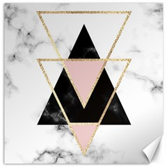 Triangles,gold,black,pink,marbles,collage,modern,trendy,cute,decorative, Canvas 16  X 16   by 8fugoso