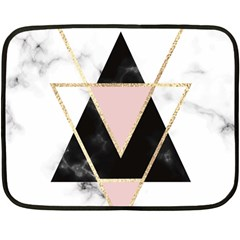 Triangles,gold,black,pink,marbles,collage,modern,trendy,cute,decorative, Double Sided Fleece Blanket (mini)  by 8fugoso