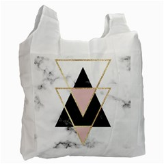 Triangles,gold,black,pink,marbles,collage,modern,trendy,cute,decorative, Recycle Bag (two Side)  by 8fugoso
