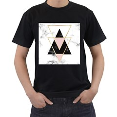 Triangles,gold,black,pink,marbles,collage,modern,trendy,cute,decorative, Men s T Shirt (black) by 8fugoso