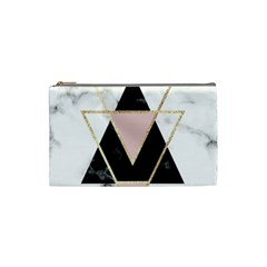 Triangles,gold,black,pink,marbles,collage,modern,trendy,cute,decorative, Cosmetic Bag (small)  by 8fugoso