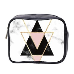Triangles,gold,black,pink,marbles,collage,modern,trendy,cute,decorative, Mini Toiletries Bag 2 Side by 8fugoso