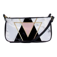 Triangles,gold,black,pink,marbles,collage,modern,trendy,cute,decorative, Shoulder Clutch Bags by 8fugoso