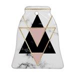 Triangles,gold,black,pink,marbles,collage,modern,trendy,cute,decorative, Bell Ornament (Two Sides) Back