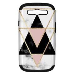 Triangles,gold,black,pink,marbles,collage,modern,trendy,cute,decorative, Samsung Galaxy S Iii Hardshell Case (pc+silicone) by 8fugoso