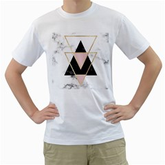 Triangles,gold,black,pink,marbles,collage,modern,trendy,cute,decorative, Men s T Shirt (white)  by 8fugoso