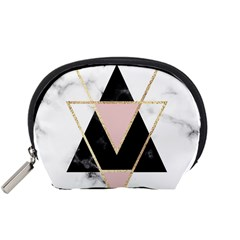 Triangles,gold,black,pink,marbles,collage,modern,trendy,cute,decorative, Accessory Pouches (small)  by 8fugoso